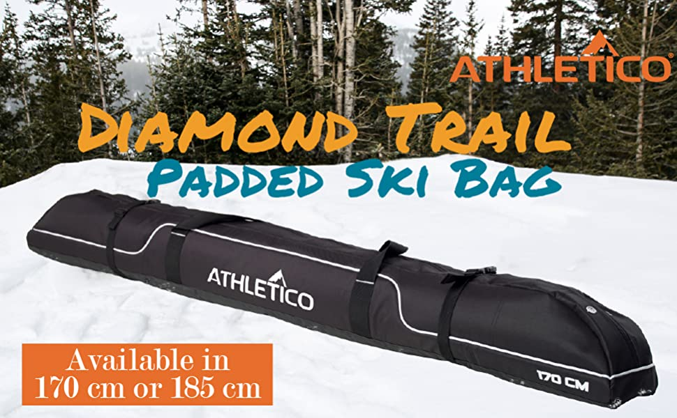 Athletico Diamond Trail Ski Bag - Black bag with padding