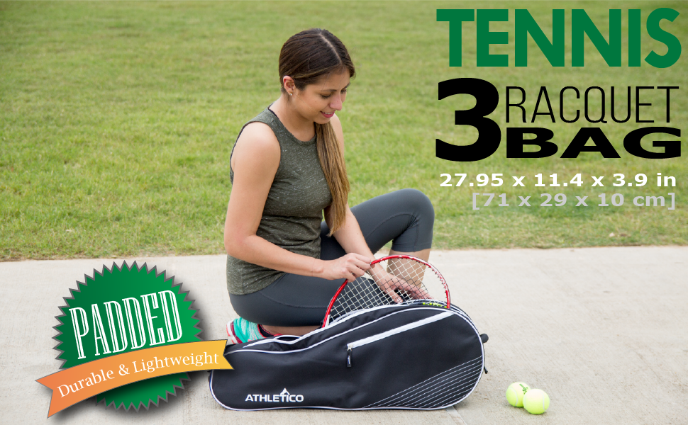 Tennis Racquet Bag, Holds 3 Tennis Rackets, Simple Easy