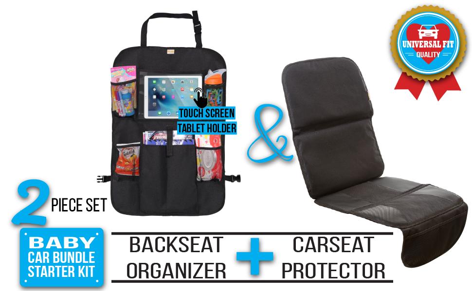ZOHZO 2 piece baby car bundle car seat protector backseat organizer with ipad holder won't damage