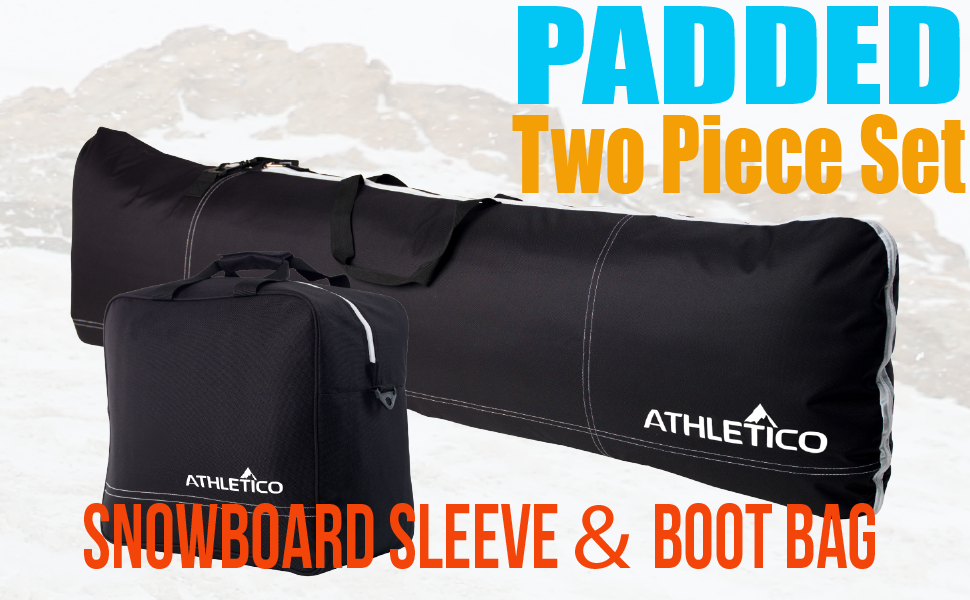 Athletico Padded Two-Piece Snowboard and Boot Bag Combo | Store & Transport Snowboard
