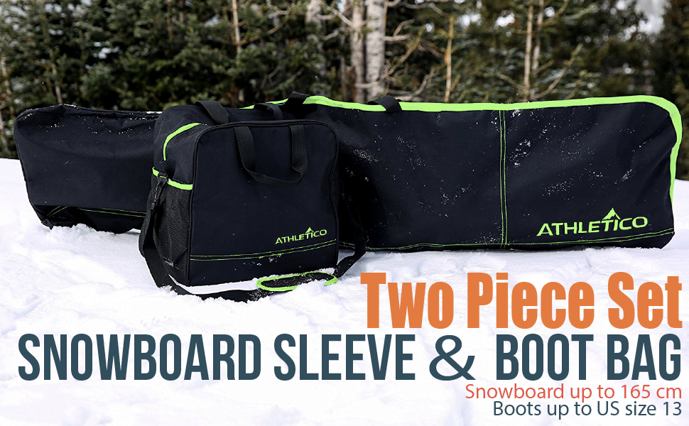 Athletico Two-Piece Snowboard and Boot Bag Combo | Store & Transport Snowboard