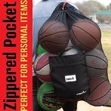 Athletico Pro Equipment Mesh Drawstring Ball Bag Zippered pocket - fits letter size paper, phone/key
