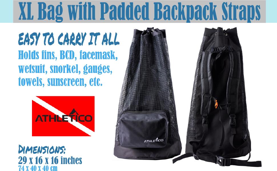 XL Scuba Mesh Dive - Holds fins, BCD, facemask, wetsuit, snorkel, gauges, towel, sunscreen, pockets