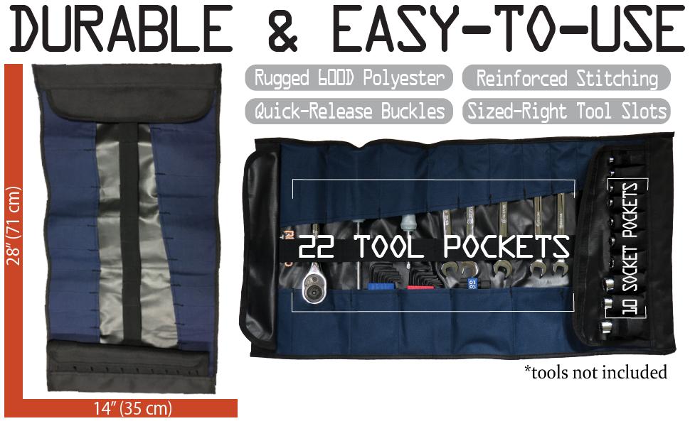 32 Pocket Tool Roll Organizer - Wrench Organizer & Tool