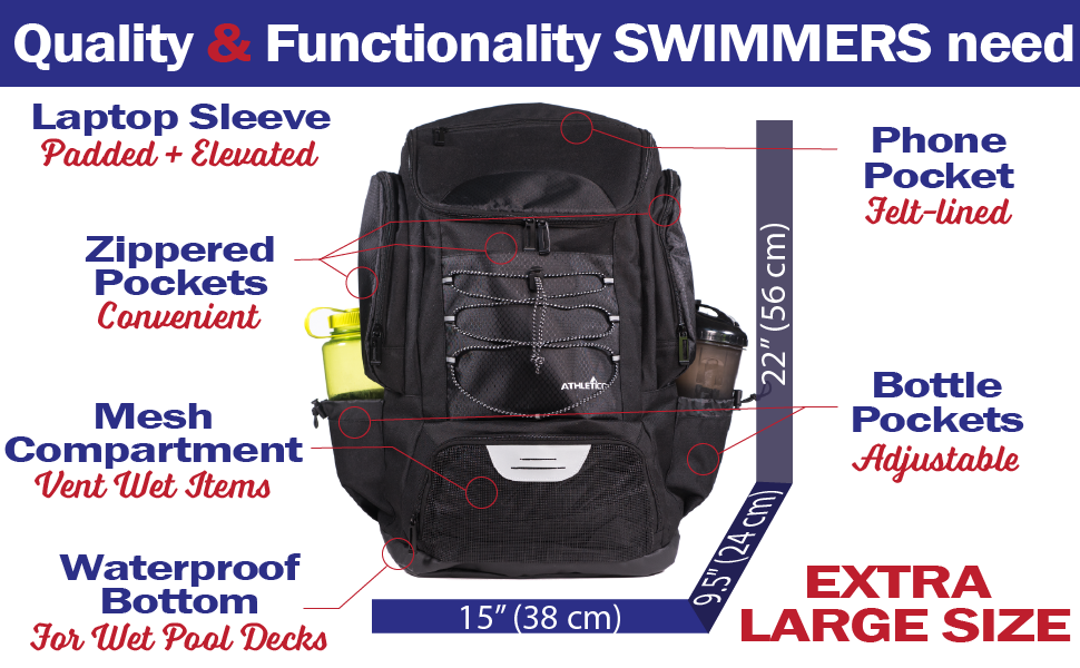 Athletico Swim Backpack for Swim Team with waterproof bottom, wet / dry area