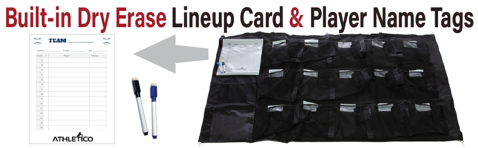 Athletico 15 Player Dugout Organizer with Built-in Dry Erase Lineup card and player name tags