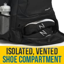 Athletico Tennis Backpack, isolated / vented shoe compartment separate shoes from rest of contents