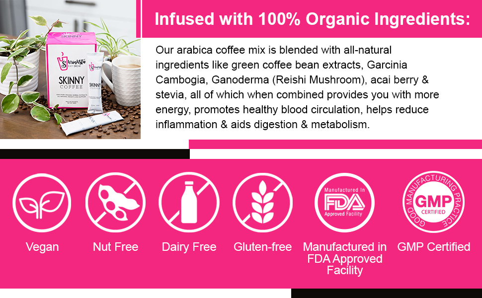 : This arabica coffee mix is blended with natural ingredients.