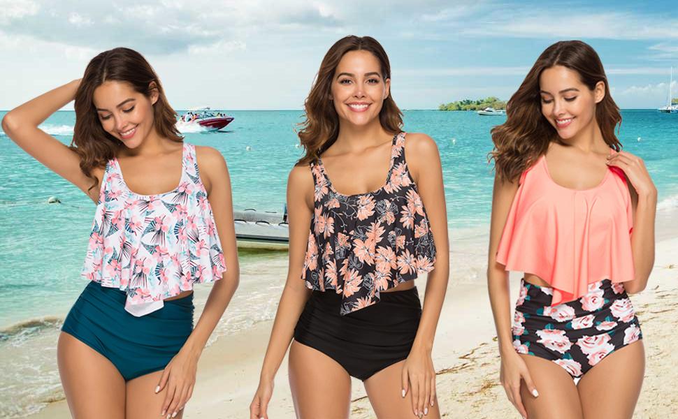 2683d78ca2ca59 Women High Waisted Bikini Swimsuit Two Piece Bathing Suit Crop Top with Swim  Bottom Bikini Set Tankinis