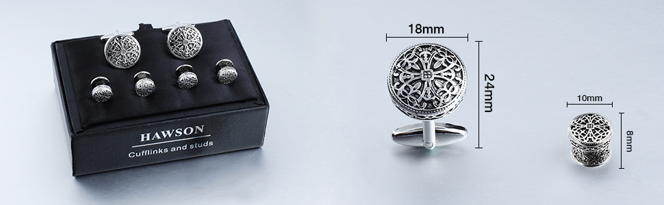 Cufflinks size 19 mm and studs size 11 mm, tuxedo button studs packed in a nice cufflinks gift box