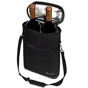 Amazon Com Opux 2 Bottle Wine Tote Carrier Insulated Wine Cooler Bag For Travel Picnic Byob Portable Wine Carrying Bag Padded Protection Shoulder Strap Corkscrew Opener Black Bar Tools Drinkware