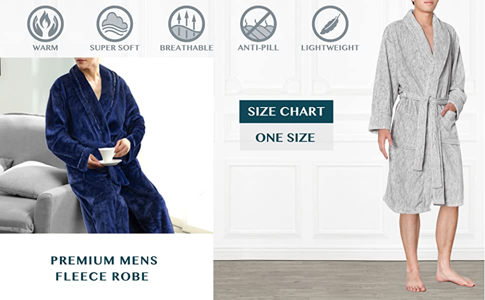 premium mens microfiber fleece robe bathrobe