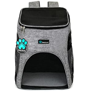Pet bag carrier backpack for travel hiking outdoors with mesh sturdy bedding with pet bowl