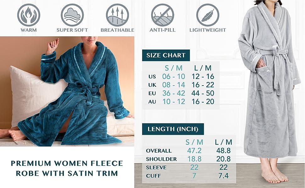 Premium Women Fleece Robe with Satin Trim  9f61666bf