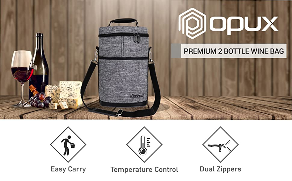 Amazon Com Opux 2 Bottle Wine Tote Carrier Insulated Wine Cooler Bag For Travel Picnic Byob Portable Wine Carrying Bag Padded Protection Shoulder Strap Corkscrew Opener Heather Grey Bar Tools Drinkware