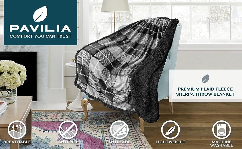 Throw blanket reversible sherpa lined melange design warm blanket
