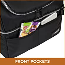 lunch bag with pockets and shoulder strap
