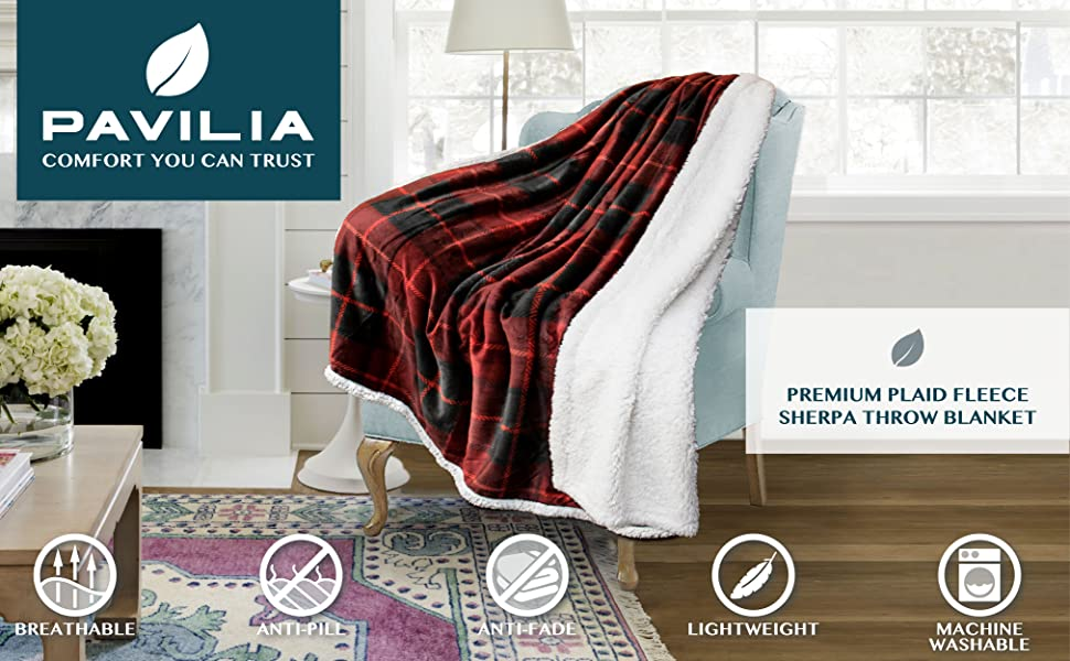 Throw blanket reversible sherpa lined plaid design warm blanket