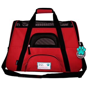 Pet bag carrier tote for travel hiking outdoors ventilated mesh and handles pet bowl
