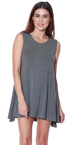 5d66de402ef2 Womens Loose Trapeze Dress - Shortsleeve Crewneck Tunic · Womens Modal  Halter Tank Dress - Casual Knit Swing Tunic · A+D Womens Sexy Sleeveless  Halter Black ...