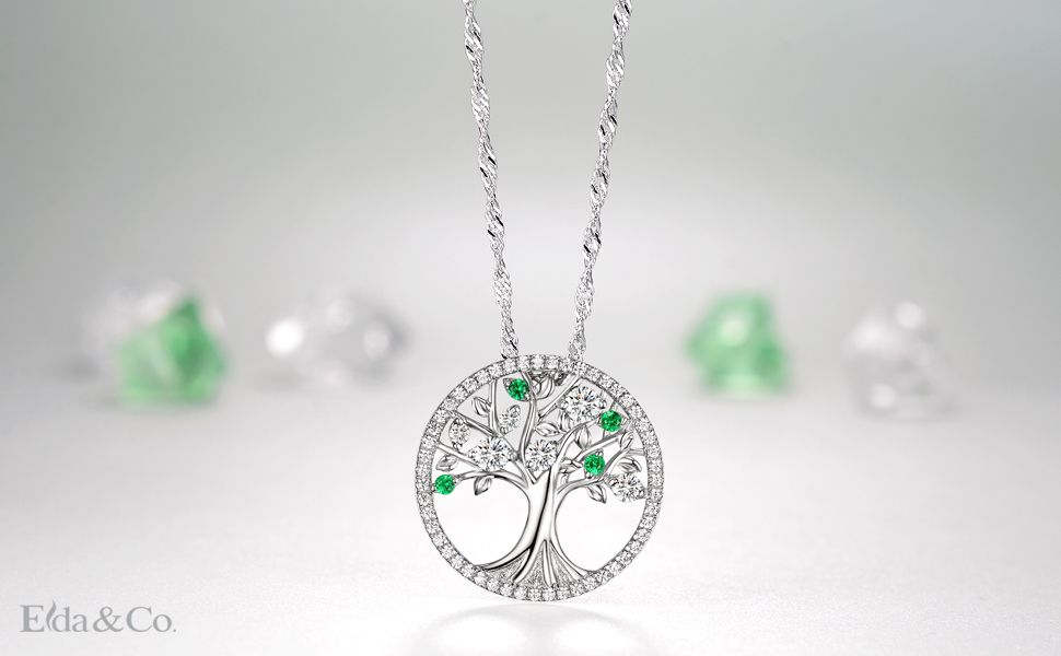 Amazon the tree of life created emerald necklace birthday april birthstone the tree of life love pendant necklace family tree sterling silver jewelry gift for women simulated diamond and created emerald 20 chain aloadofball Choice Image