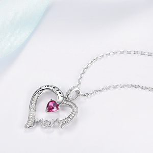 Silver Heart Necklace October Birthstone Pink Tourmaline Tourmaline Necklace Mothers Necklace Dainty Heart Necklace Mothers Necklace
