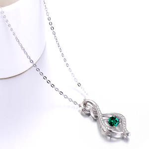May Birthstone Necklace Green Emerald Jewelry