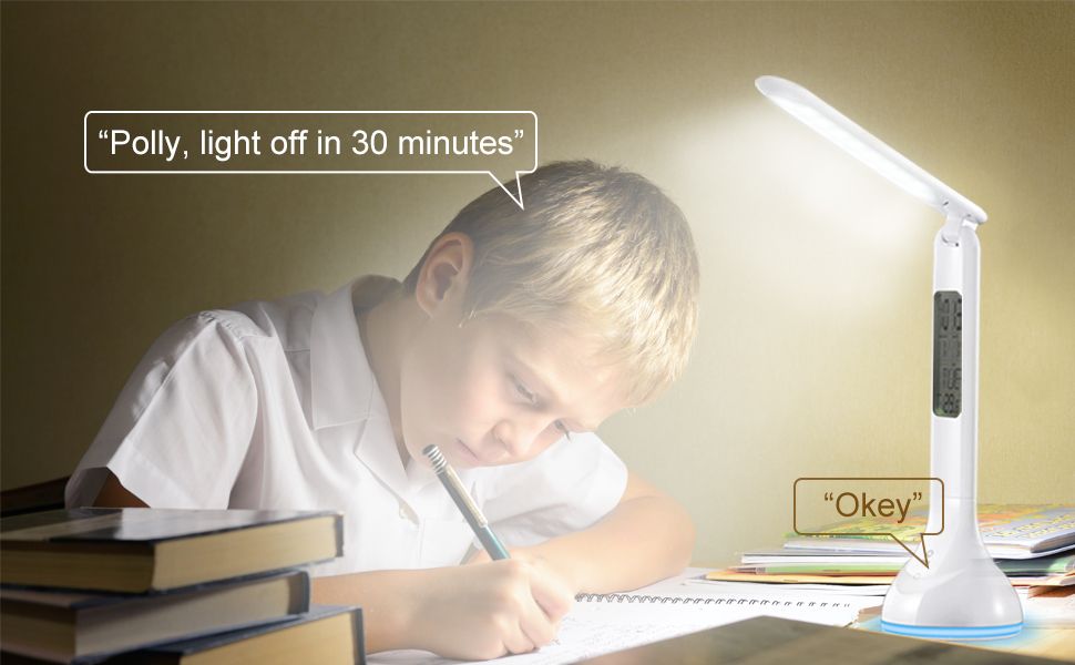 Off-line Voice Control LED Desk Lamp Timer Birthday Reminded Avatar Controls Eye-caring and Dimmable Table Light Built-in Battery Office Lamp Alarm Clock Electronic Calendar Colorful Atmosphere