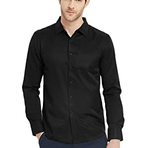 Pishon Mens Non Iron Slim Fit Long Sleeve Solid Spread Collar Business Button Down Shirts