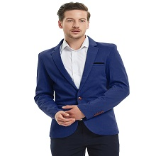 Pishon Mens Slim Fit Suits Casual One Button Flap Pockets Solid Blazer Jacket