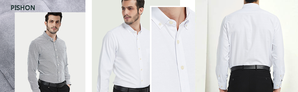 Pishon Mens Cotton Collared Button Front Long Sleeve Slim Fit Business Casual Shirt