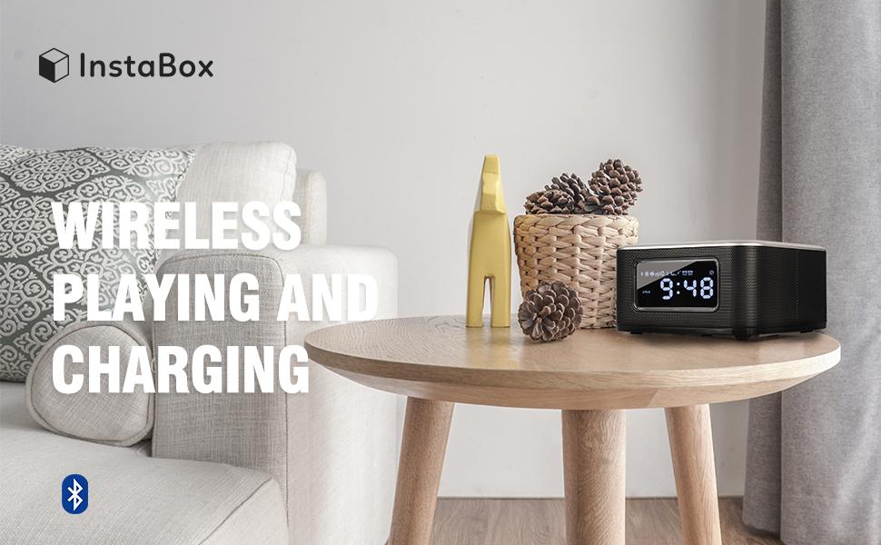 InstaBox W33 Wireless Charging Alarm Clock Radio Dual Speaker