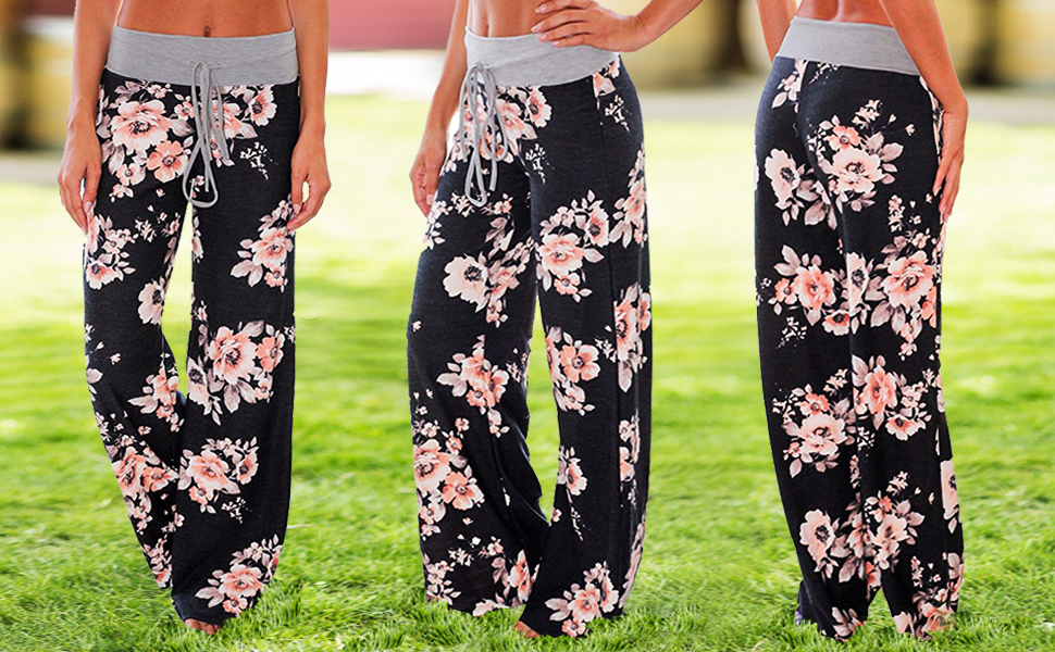 Coolred-Women Pajama Pants Loose Cotton Stretchy Fabric Palazzo Pants