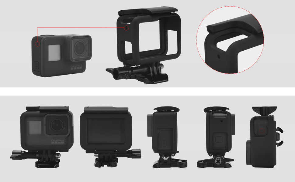 iTrunk Frame Mount Compatible for GoPro Hero 7 Black (2018) / 6/5, Protective Housing Case with Quick Release Buckle Accessories Compatible for GoPro ...