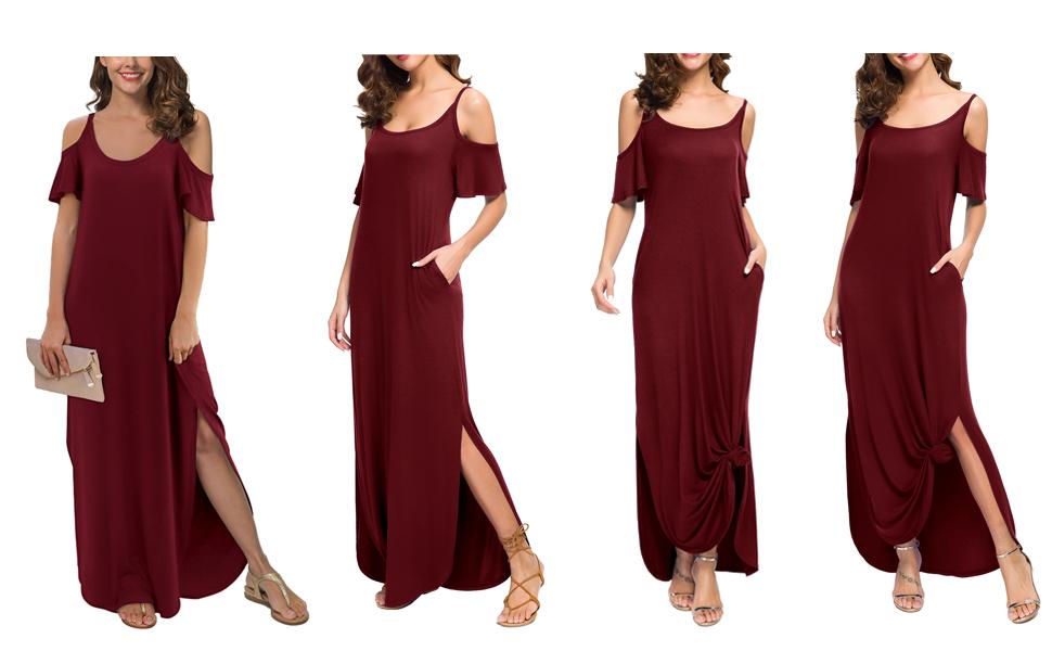 Summer Casual Loose Long Dress Strapless Strap Cold Shoulder Short Sleeve Split Maxi Dresses