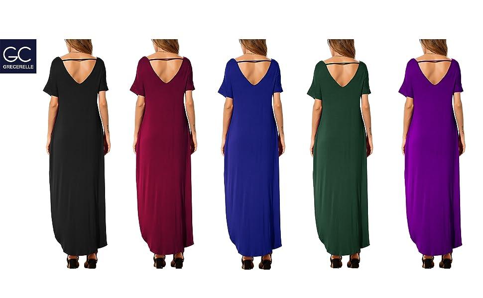 b339b17931e GRECERELLE Women s Casual Loose Pocket Long Dress Short Sleeve Split ...