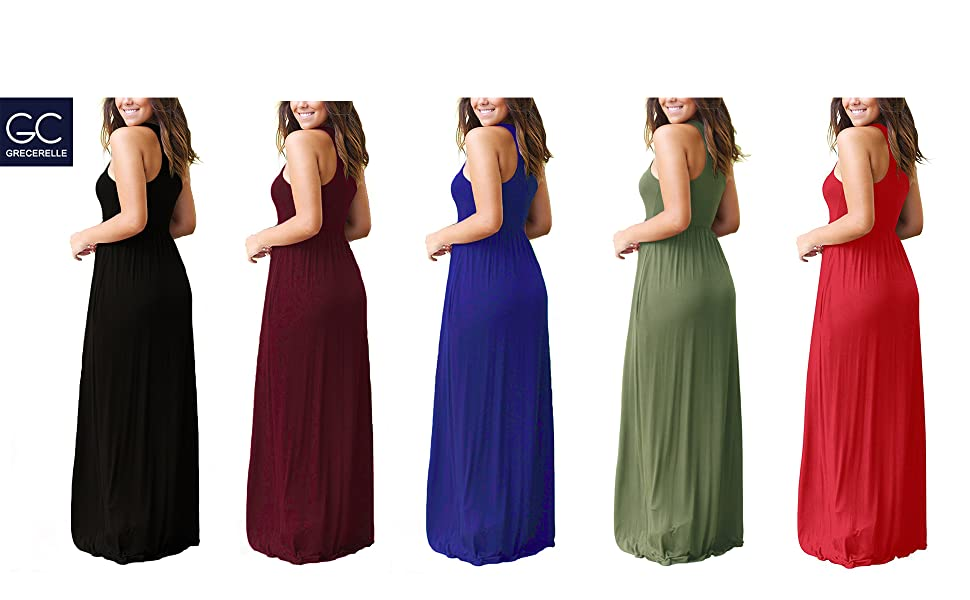 b7a073447c09 GRECERELLE Women's Sleeveless Racerback Loose Plain Maxi Dresses Casual  Long Dresses .