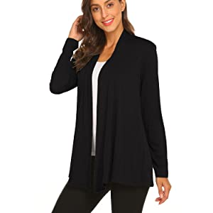 Womens Casual Lightweight Long Sleeve Cardigan Soft Drape Open Front Fall Dusters S-3X