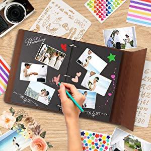 Amazon.com: Álbum de fotos de piel para boda, libro de ...