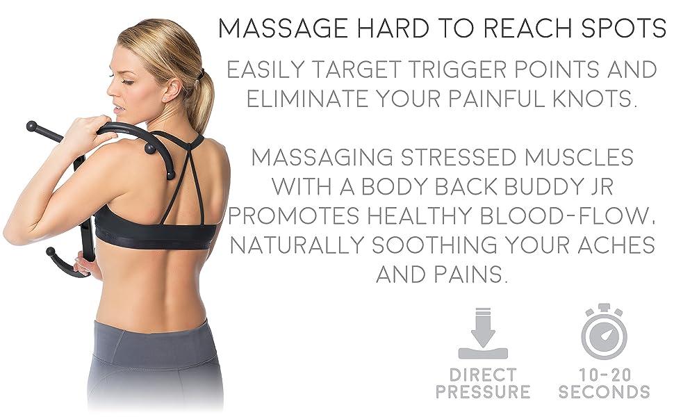 Body Back Buddy Junior Back Massager (Black) | Compact Trigger Point  Massager