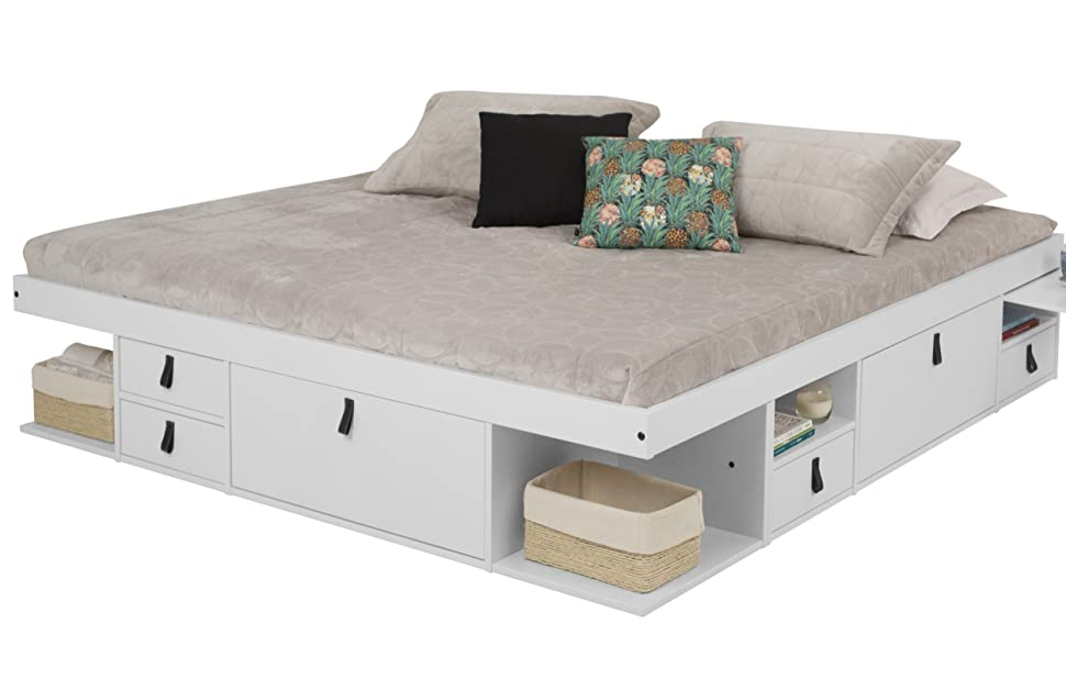 Amazon Com Memomad Bali Storage Platform Bed With Drawers King Size Off White Kitchen Dining