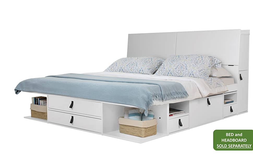 Memomad Bali Storage Platform Bed With Drawers Queen Size Off White Kitchen Dining