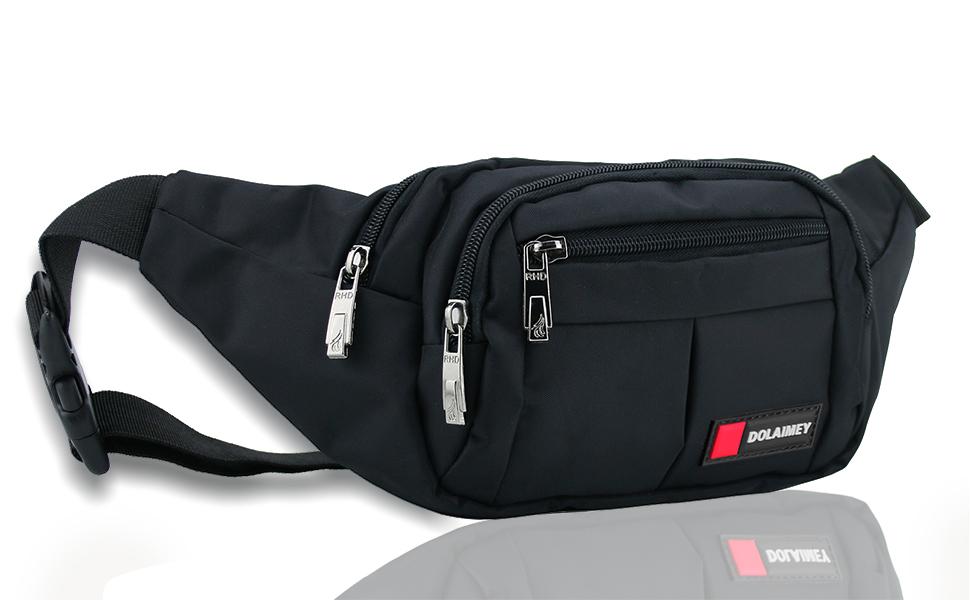 7a4a0b4ac5f1 Amazon.com   Black Fanny Pack Waist Bag for Men Women Hip Bum Bag ...