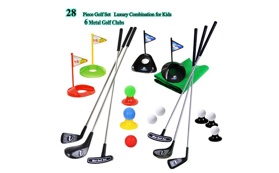 Amazon.com: Juego de palos de golf para niños, con bandera ...