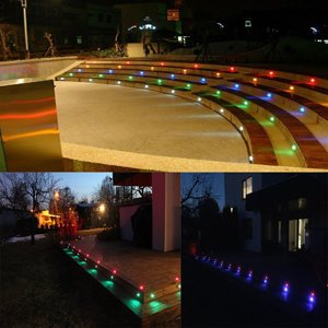 Fast Transport by DHL Low Voltage LED Deck Lights Kit /Φ1.18 Waterproof Recessed Deck Lamp Outdoor Yard Garden Pathway Patio Step Stairs Landscape Decor LED In-ground Lighting RGB Pack of 20,