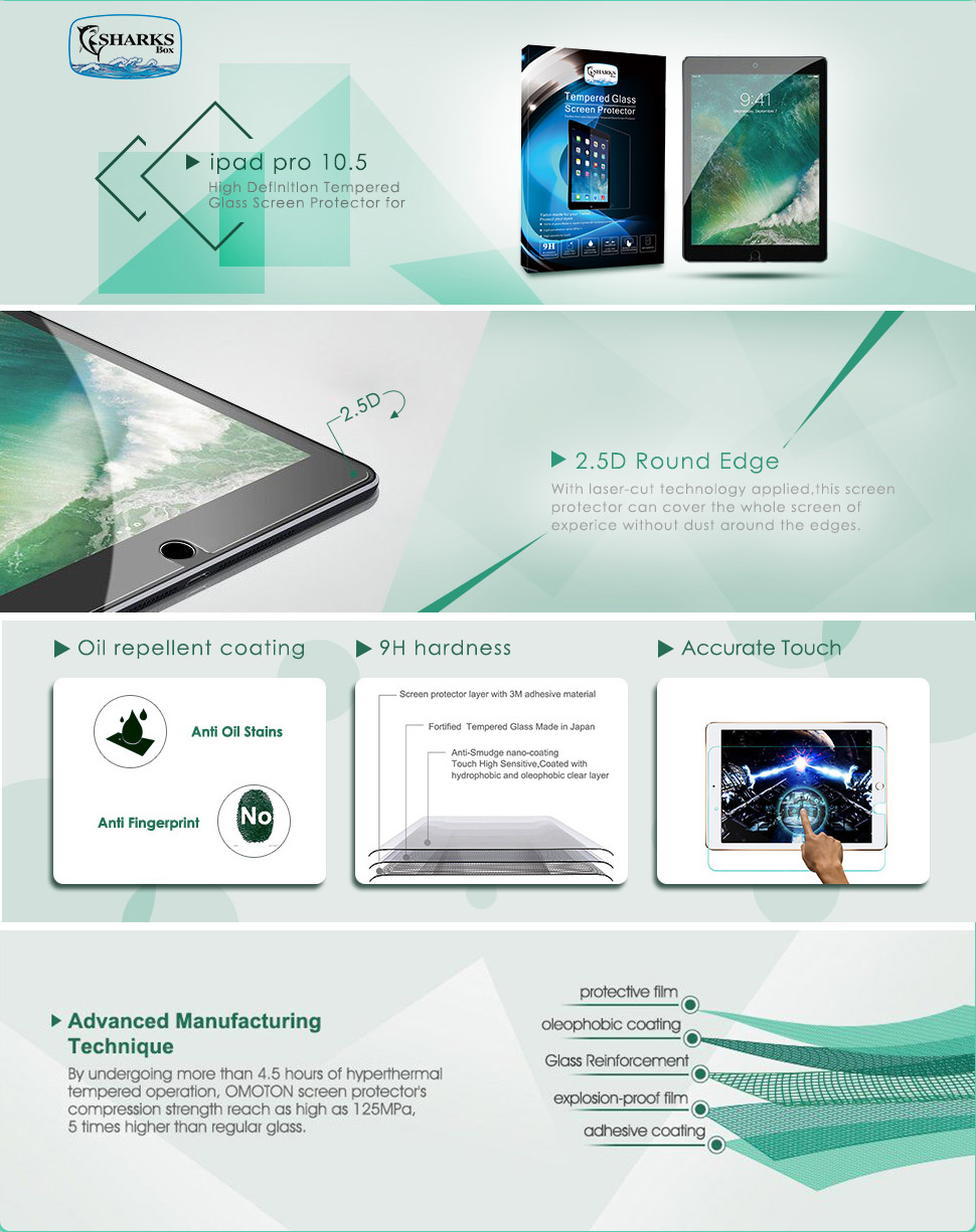 Surface pencil compatible tempered glass screen protector with 2 5d - Sharksbox High Definition Tempered Glass Screen Protector