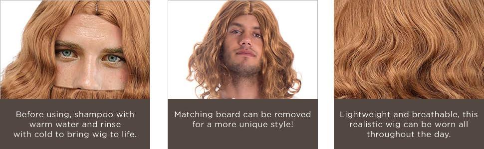 simplicity, jesus, wig, halloween, costume, mens, beard, cosplay, natural looking, dress up