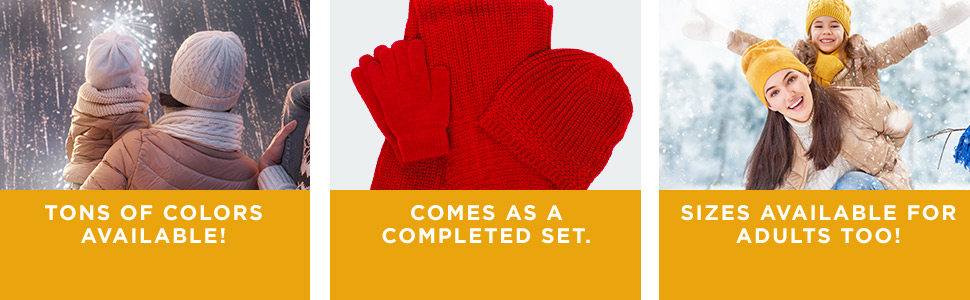 Simplicity, kid, adult, unisex, winter, autumn, fall, cold weather, accessory, gloves, scarf, beanie