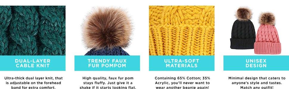 2330820da Simplicity Womens Winter Hand Knit Faux Fur Pompoms Beanie Hat