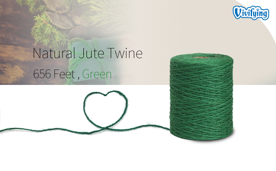 Crafts Bundling Dark Green Natural 2mm Jute Twine for Floristry Vivifying 328 Feet Green Garden Twine